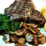 T-Bone Steak with Mushrooms and Spinach Feb 24th, 2012